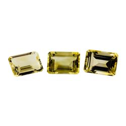 20.81 ctw.Natural Emerald Cut Citrine Quartz Parcel of Three