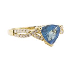 1.23 ctw Aquamarine and Diamond Ring - 14KT Yellow Gold
