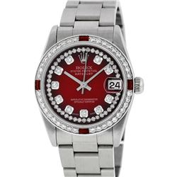Rolex Womens Midsize 31mm Red Vignette String Diamond & Ruby Datejust Wristwatch