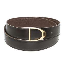 Hermes Vintage Black Brown Togo Leather Etrier Belt 85