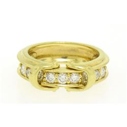 Jose Hess 18kt Yellow Gold 0.75 ctw Diamond Dual Buckle Band Ring