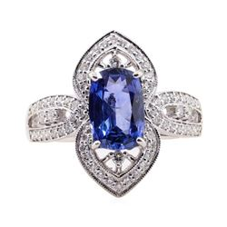 1.96 ctw Sapphire and Diamond Ring - 18KT White Gold
