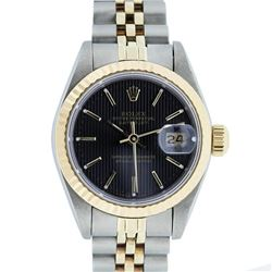 Rolex Ladies 2 Tone 14K Gold Black Tapestry Fluted Bezel Datejust Wristwatch