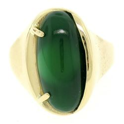 Men's 14k Yellow Gold Oval Cabochon Green Onyx Solitaire Engulfing Ring