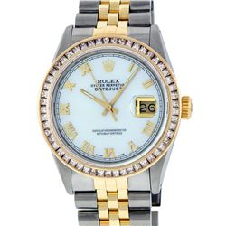 Rolex Mens 2 Tone 14K MOP Princess Cut Datejust Wristwatch With Rolex Box