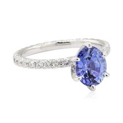 2.24 ctw Sapphire and Diamond Ring - 14KT White Gold