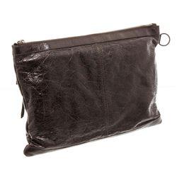 Balenciaga Brown Ageneau Leather Classic Clip L Clutch
