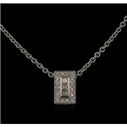 0.41 ctw Diamond Pendant With Chain - 18KT White Gold