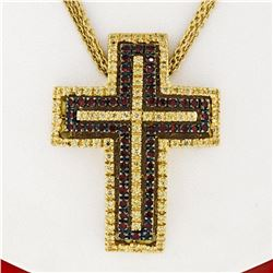 18K Gold 2.04 ctw Fine Yellow Sapphire & Garnet  Slide Cross Pendant & Chain