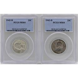 Lot of (2) 1942-D Washington Quarter Coins PCGS MS64