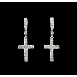 1.07 ctw Diamond Earrings - 14KT White Gold