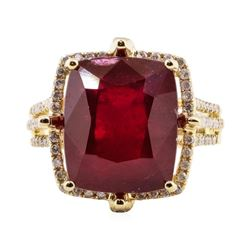 11.63 ctw Ruby and Diamond Ring - 14KT Yellow Gold