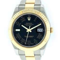 Rolex Mens Yellow Gold And Stainless Steel 41MM Black Roman Datejust 2 Wristwatc