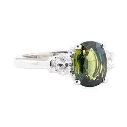 3.33 ctw Green Tourmaline And Diamond Ring - Platinum