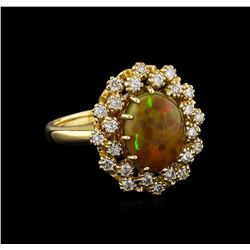 2.20 ctw Opal and Diamond Ring - 14KT Yellow Gold
