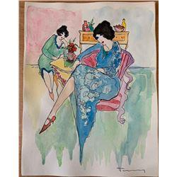 """Itzchak Tarkay """"Watercolor (Untitled Ref. #11)"""""""
