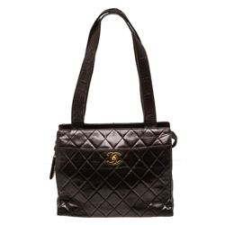 Chanel Black Quilted Lambskin Leather Shoulder Tote Bag
