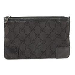Gucci Monogram Pouch Black Canvas Clutch