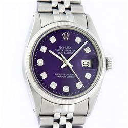 Rolex Mens Stainless Steel Purple Diamond 36MM Datejust Wristwatch With Rolex Bo