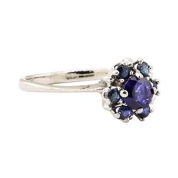 0.67 ctw Blue Sapphire Ring - 14KT White Gold
