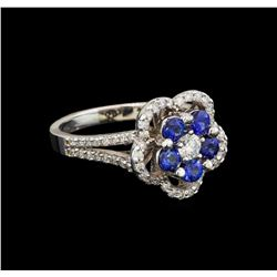 14KT White Gold 0.95 ctw Sapphire and Diamond Ring