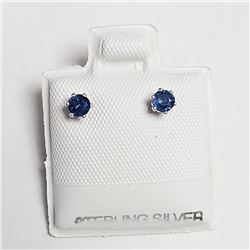 Silver Sapphire(0.4ct) Earrings, Made in Canada, Suggested Retail Value $80