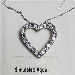 "Silver Simulation Aquamarine 18"" Necklace, Suggested Retail Value $100"