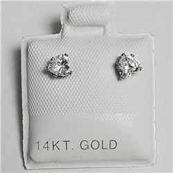 14K White Gold Cubic Zirconia Earrings, Made in Canada, Suggested Retail Value $160
