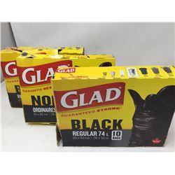 Glad Black Regular (3 x 74L x 10bags)