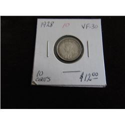 1928 CANADA KING GEORGE SILVER TEN CENT COIN (VF30)