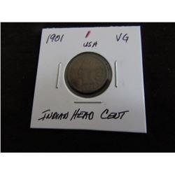 1901 USA INDIAN HEAD CENT (VG)