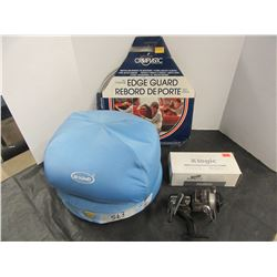 TRAY WITH DR. SCHOLL'S FOOT WARMER, FISHING REEL, EDGE TRIM, BLOOD PRESSURE CUFF, ETC
