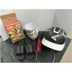 BOX OF TOYS, HUSKY FLASHLITE, CUPS, ROLLING PIN, STONE WAVE COOKIER, LADIES SZ 9 SANDALS, ETC
