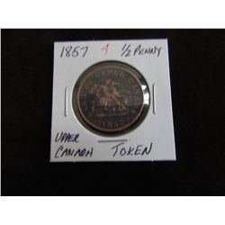 1857 UPPER CANADA HALF PENNY TOKEN
