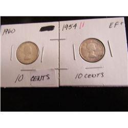 1960 & 1954 (EF+) CANADA SILVER TEN CENT COINS