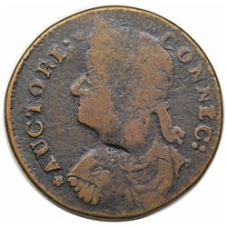 1787 Connecticut Copper, Draped Bust Left, Miller 31.1.-r.4, R2, date altered to 1788, F12