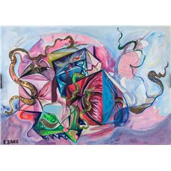 Style of Rudolf Bauer German Mixed Media