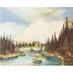 Signed L.N Oil on Panel Landscape