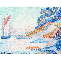 Style of Paul Signac French Oil Paper '97 Paris