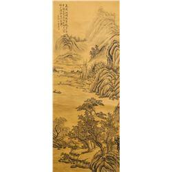 Dong Qichang 1555-1636 Chinese Watercolor Scroll