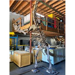 JUVENILE MAMENCHISAURUS FULL SKELETON ON STEEL FRAME, FOUND IN CHINA FROM THE LATE JURASSIC PERIOD,