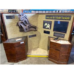 """""""HOLES IN THEIR HEAD"""" INTERACTIVE STATION WITH DISPLAY MONITOR, ROAR PUMP & INFORMATION,"""