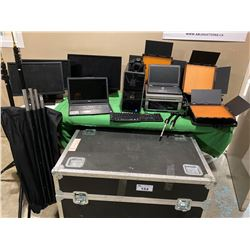 COMPLETE GREEN SCREEN SYSTEM INC.: APPROX. 12' WIDE GREEN SCREEN WITH COLLAPSABLE STAND,