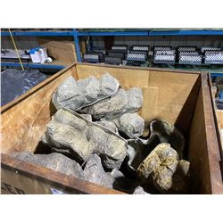 LARGE MOBILE CRATE OF ASSORTED FIBERGLASS GROUND COVER ROCKS