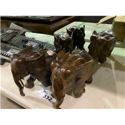 5 WOODEN ELEPHANT SCULPTURES