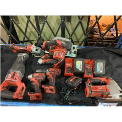 MILWAUKEE M18 CORDLESS POWER TOOLS CHARGERS & BATTERIES INCLUDING: 7 POWER TOOLS, 4 BATTERIES & 2