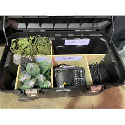 STANLEY ROLLING JOB BIN WITH CONTENTS INC: SPEAKER, LIGHTING, FOLIAGE AND MORE