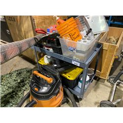 ROLLING CART OF CLEANING SUPPLIES AND RIGID SHOP VACUUM