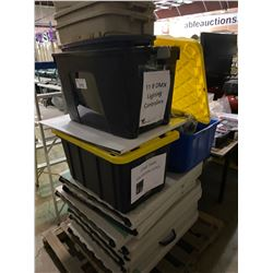 PALLET LOT OF DOUBLE FOLDING TABLES AND PLASTIC STORAGE BINS