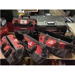 LOT OF 5 HUSKY TOOL CASES, 1 BLACK 4 RED SOFT SIDE